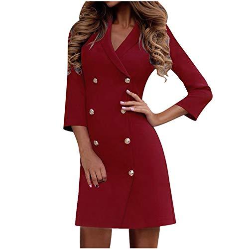 Routinfly Vestido de noche, camisa, minivestido, maxivestido, de algodón, vestido básico, vestido de cóctel, para mujer, cuello abierto, de dos vueltas, terciopelo, casaul, trabajo o de noche