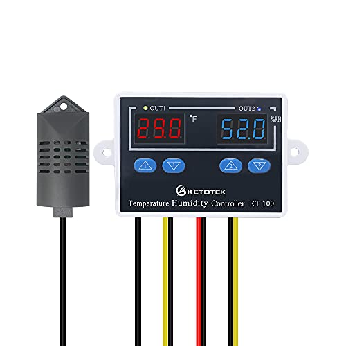KT100 Humidity Temperature Controller 120V 10A Fahrenheit Digital Thermostat Humidistat Control Switch Direct Output with 1.5m Temperature Humidity Sensor