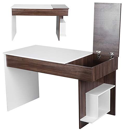 AYNEFY Mesa de ordenador blanca para casa, escritorio moderno para ordenador con estante para escritorio de oficina para uso doméstico 124 x 60 x 74 cm