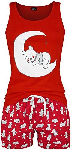 Winnie the Pooh Punkte Frauen Schlafanzug rot L 100% Baumwolle Disney, Fan-Merch, Film, Zeichentrick