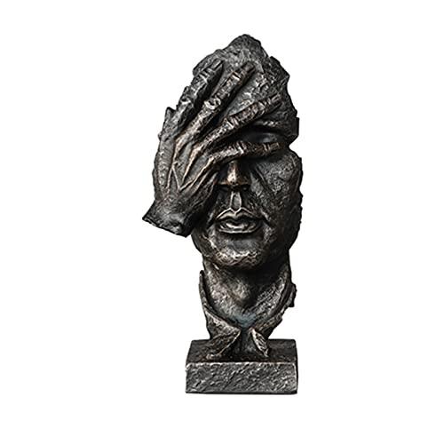 Decoración de escritorio de estantería Creative Face Sculpture Statue Silence es Golden, Sleepy Sculpture, Thinker Statue, Abstract Home Crafts Office Decoration Art Ornaments Soporte Escritorio Ofici