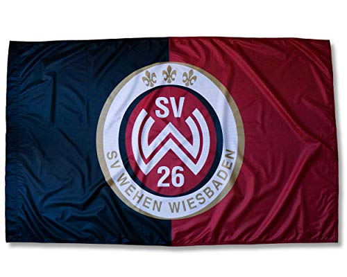 SV Wehen Wiesbaden 1926 Logo Fahne Flagge - 150x90 cm - Querformat - mit Hohlsaum - Lizenprodukt