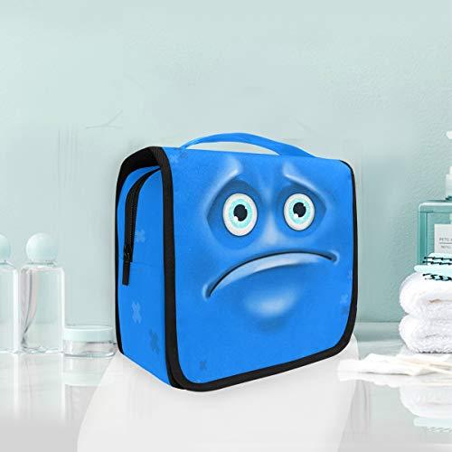 Maquillage cosmétique sac portable dessin animé visage triste expression voyage voyage pochette sac de toilette pour femmes dame