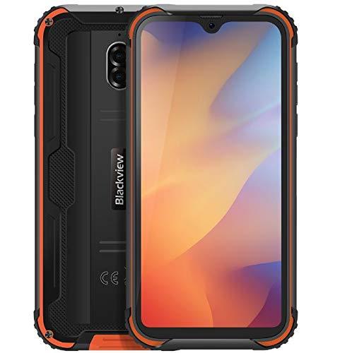 Teléfono Robusto (2019) Blackview BV5900, Diseño de Cápsula Espacial, 5.7 Pulgadas HD + Android 9.0 Móvil, IP68 Impermeable/Antigolpes, Modo de Cámara Subacuática, 3GB + 32GB, NFC, 5580mAh Amarillo