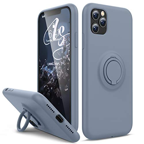 HAVVA Compatible with iPhone 11 Pro Case, [Silicone and Ring Kickstand Series] [Soft Anti-Scratch Microfiber Lining], Full Body Protective Bumper Case for iPhone 11 Pro-Lavender Grey