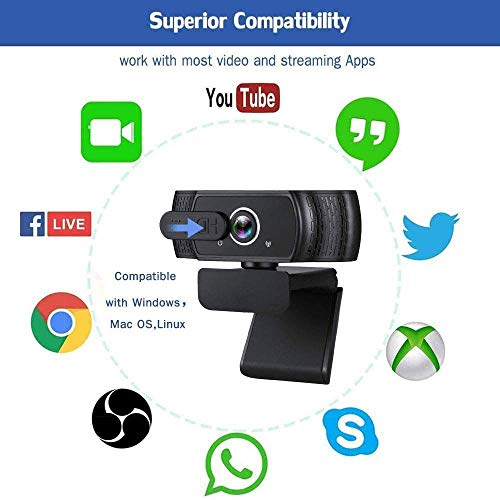 1080P Webcam FHD, Live-Streaming-Kamera mit Datenschutz für Videoanrufe, Online-Kurse, USB-Webkamera für Desktop- und Laptop-Konferenzen, Zoom, Skype, Facetime,Besprechungen, Linux und MacOS,Windows