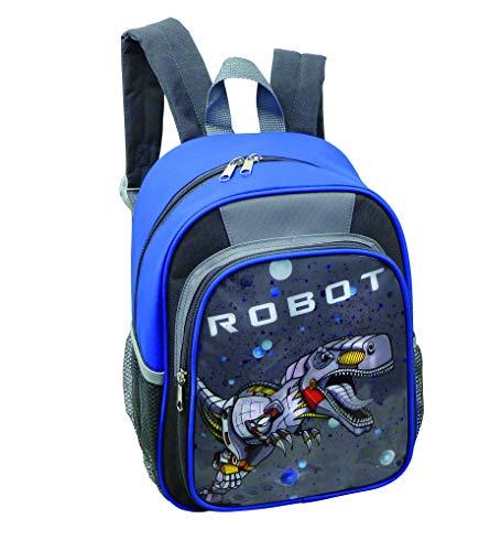Stefano STEFANO Kinder Reisegepäck Roboter grau Set Trolley Koffer Rucksack Sportbeutel Brustbeutel -präsentiert von RabamtaGO®- (Rucksack)