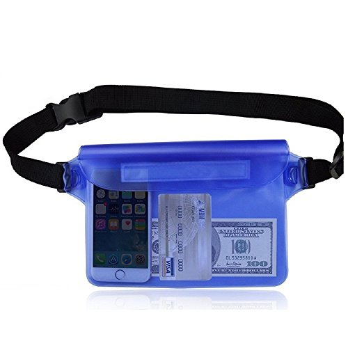 Dry bag /Sport Waterproof Case,Snowproof Pouch/Dust Dirt Proof/Triple Lock System IPX8 Waist Pouch Bundle, Best Water Proof,for iPhone 6S Plus ,Samsung Galaxy, Accessories (Blue)