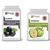 Acai Berry 1000 mg 120 cápsulas + Garcinia Cambogia 500 mg 60 cápsulas - Fabricado en el Reino Unido | Estándares GMP de Prowise Healthcare
