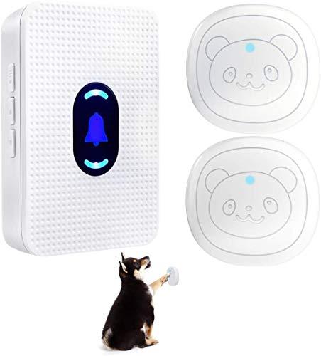 Mazu Homee IP55 timbre inalámbrico para perro para entrenamiento orinal impermeable botón táctil con 55 melodías 5 niveles de volumen LED flash (2 botones táctiles)
