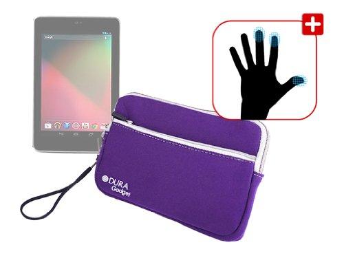 DURAGADGET Housse étui résistant en néoprène Violet + Paire de Gants capacitifs Taille M (Moyen) pour Google Nexus 7 ASUS Tablette Android 4.1 Jellybe