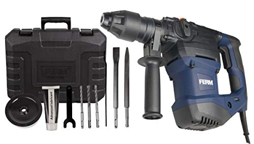 FERM HDM1037 Rotary/Demolition Hammer 1500W, Includes Depth Limiter, 3 Drills and 2 SDS chisels, 1500 W, 230 V, Black/Blue