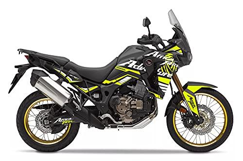 Motostick Graphics Kit de calcomanías compatible con Honda CRF1000L Africa Twin 2016-2019 'Adventure' (negro/amarillo neón)
