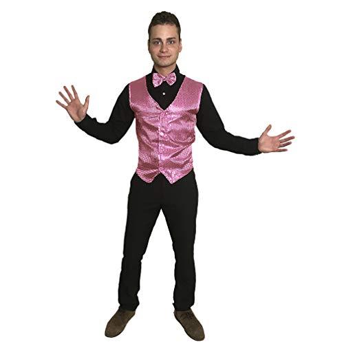 sowest Pink Pailletten Weste & Fliege Showbiz Showbusiness Herren Kostüm