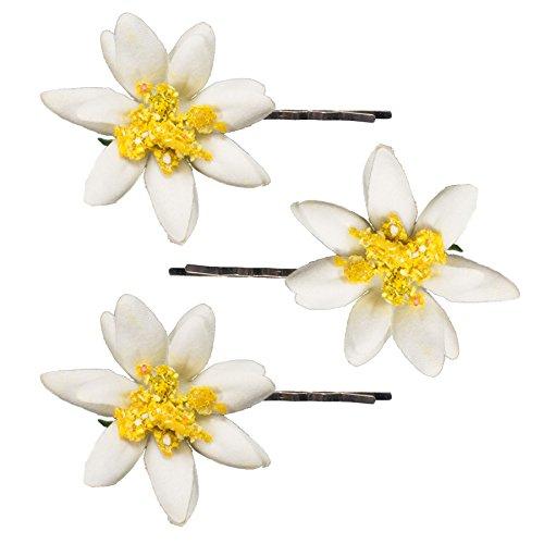 Alpenflüstern Trachten-Haarklammern Edelweiß-Blüten 3er-Set (creme-weiß) ADV104