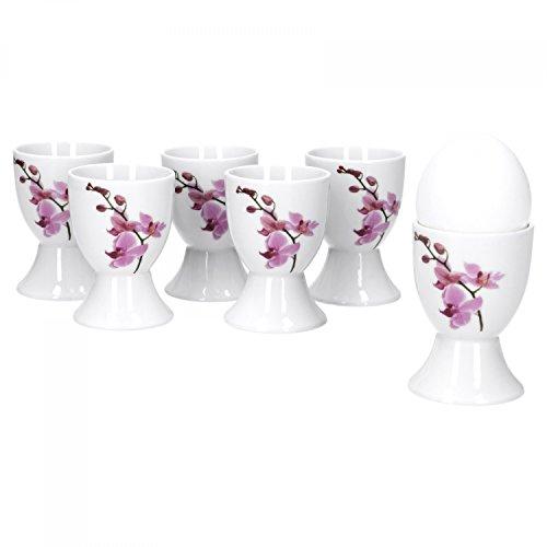 Van Well 6er Set Eierbecher Kyoto, rund Ø 50 mm, H 70 mm, Eierständer hoch, Egg Cup, weißes Porzellan-Geschirr, Blumen-Dekor Orchidee,...