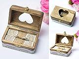 Happy Weddng Art Ringkissen Hochzeit Ring Box Ringbox Vintage Stil Holz Ring Schatulle Hochzeitsdeko Deko Holz Ring Box - 6