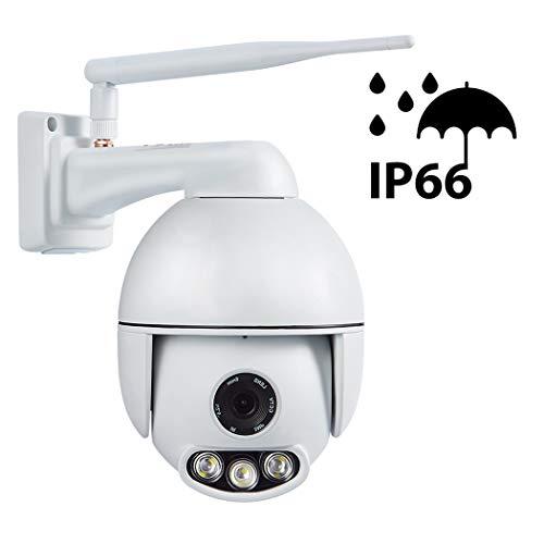 FTSUI PTZ IP Dome camera buiten, 4X zoom, Pan360 ° / Tilt 90°, app-alarm, IR nachtzicht, bewegingsdetectie, IP66 waterdicht, toegang op afstand UK 1080p.