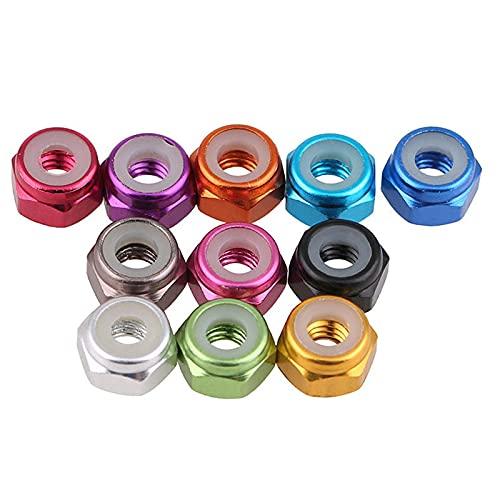 10 Uds tuercas de aluminio coloridas M2 M3 M4 M5 M6 tuercas de bloqueo de inserción hexagonal de nailon tuercas de bloqueo tuerca autoblocante para piezas de modelo-M4, azul oscuro