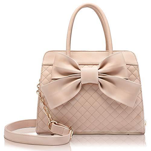 Scarleton Quilted Bow Satchel Handbag for Women, Vegan Leather Crossbody Bag, Shoulder Bag, Tote Purse, H104805,Beige Brown Pink