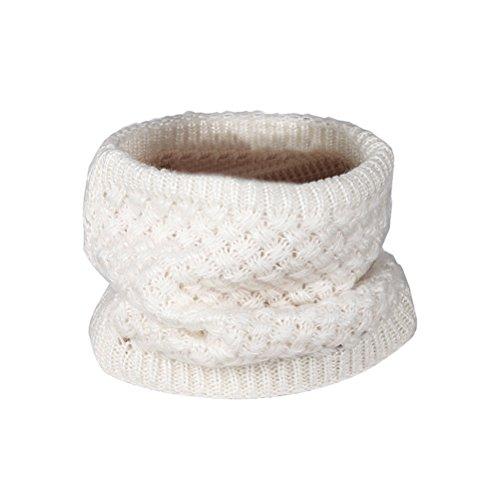BESTOYARD Collo Sciarpa Donna inverno maglia Cercio Crochet sciarpa scialle copricollo scaldacollo (Bianca)