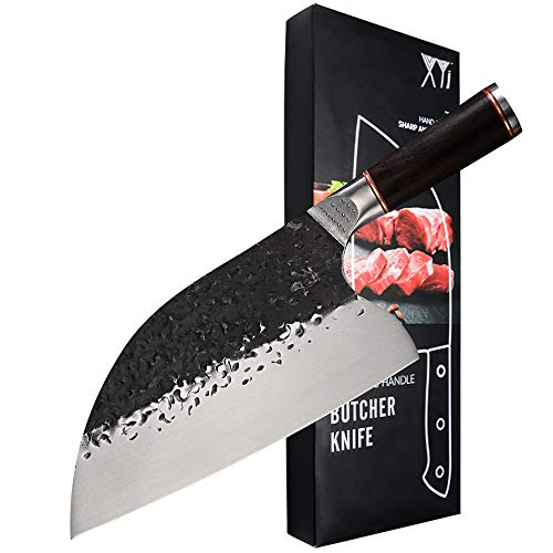 XYJ Serbian Chef Knife 5CR15 Stainless Steel 7.5 inch Butcher Knife Forging Hammer Blade Meat Vegetable Cleaver Kitchen Chopping Chef Knives