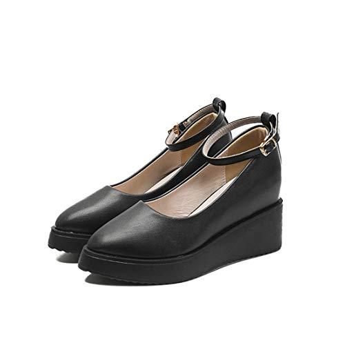 [LEE FUN] リー ファン ウェッジソール パンプスレディース 厚底 歩きやすい ウェッジソール ヒール 靴 夏 疲れない 痛くない かわいい ウェッジサンダル 高い 黒 大きいサイズ 小さいサイズ オシャレ レディス防水パンプス 美脚 (20.5c