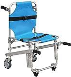 FLJMR Stair Chair Aluminum Light Folding Ambulance Chair 3 Adjustable Release Buckles Chair Lifts Emergency 4 WheelsTransport Chair-Blue
