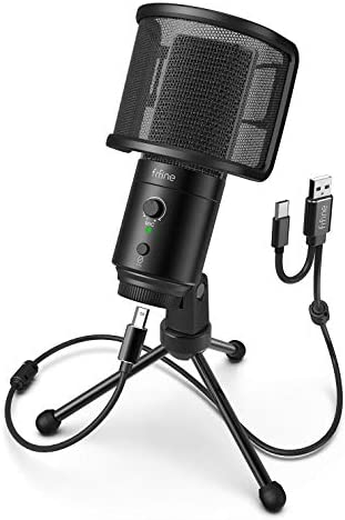 FIFINE USB Desktop PC Microphone with Pop Filter for Computer and Mac Studio Condenser Mic with product image