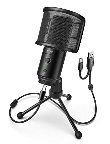 FIFINE USB Desktop PC Microphone with Pop Filter for Computer and Mac, Studio Condenser Mic with Gain Control Mute Button Headphone Jack for Gaming Streaming Recording YouTube, Extra USB-C Plug -K683A
