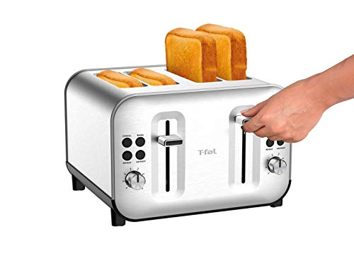 T-Fal TF684D50 Element Stainless Steel 4 Slice Toaster, toasts breads, Bagels Snacks, reheat, 8 Browning levers, Silver
