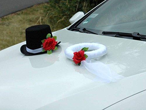 Autoschmuck Hochzeit, Rot, 25x32x15 Schleier 25