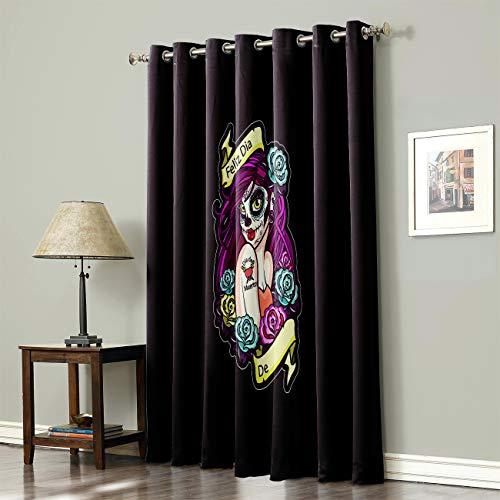 SODIKA Grommet Top Curtains for Living Room Bedroom Window Treatment Curtain Draperies - Horror Skull Girl 52 x 72 inch,1 Panel