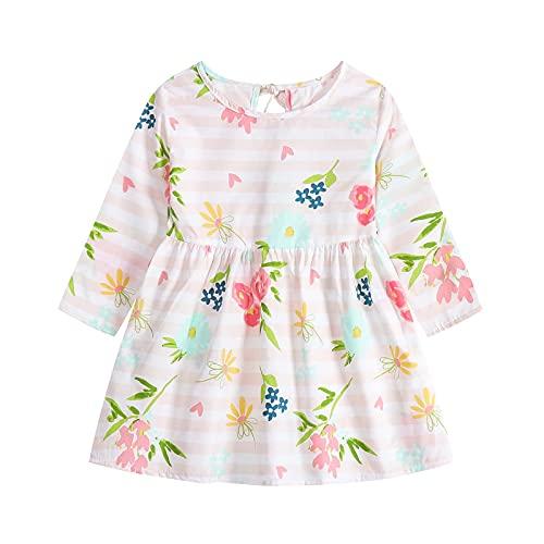 Vestido floral de manga larga para niñas vestido de fiesta impreso vestido de una línea de niña (6 meses-3 años), rosa, 9 mes