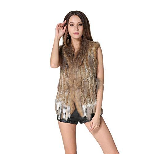 KAISHIN Chalecos de Piel de Conejo de Punto Real a la Moda para Mujer Chalecos de Cuello de Piel de Mapache Informales de Todo fósforo (Marrón Natural, ES 36-38 Talla)