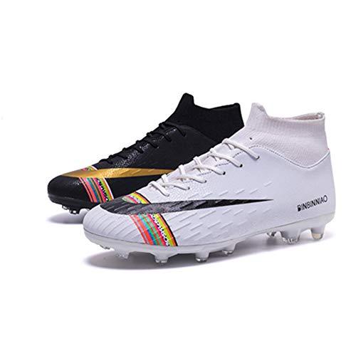 Agnueuty Botas de fútbol altas para hombre con tacos para niños, color Negro, talla 39 2/3 EU