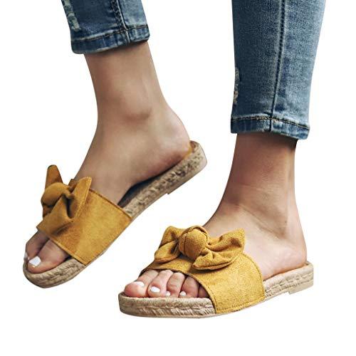 2019 Mujer Sandalias Y Chanclas, Alpargatas Planas Con Lazo De Vestir Vacasiones Playa Outdoor Interior Chanclas De Verano Zapato Con Punta Abierta Zapatillas De Talla Grande 36-43(Amarillo, 37)
