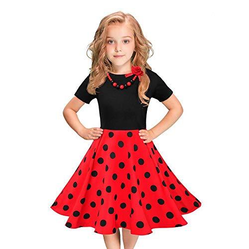 YEBIRAL Mädchen Kurzarm Rundhals Vintage Kleider Rockabilly Polka-Punkt Swing Party Prinzessin Kleid 2-12 Jahre