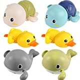 YSSHUI Bath Toys, Wind Up Swimming Turtle Duck and Whale Toys Floating Baby Pool Bathtub Toys for Kids Toddlers Boys and Girls (6 Pack)