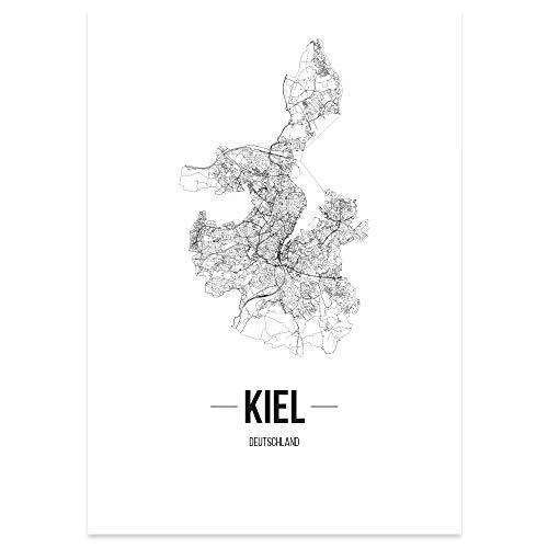 JUNIWORDS Stadtposter, Kiel, Wähle eine Größe, 30 x 40 cm, Poster, Schrift B, Weiß