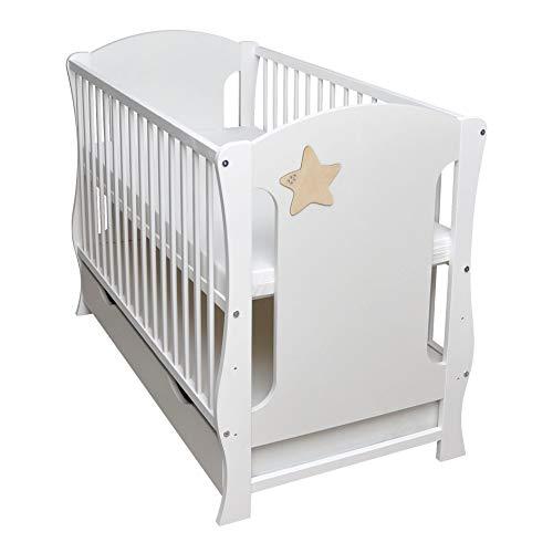 Rundum Cuna de bebé 2 en 1 con rejilla protectora y cajón, 120 x 60 cm, color blanco