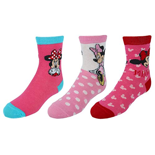Disney Girl's Minnie Mouse Crew Socks (3 Pair Pack), Large, Pink