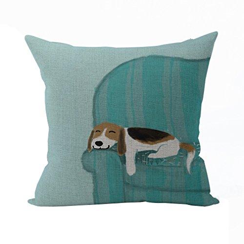 Nunubee Tier Bettwäsche aus Baumwolle Dekorative Kissenbezug Platz Heim für Sofa Bett Auto Blau Hund 1