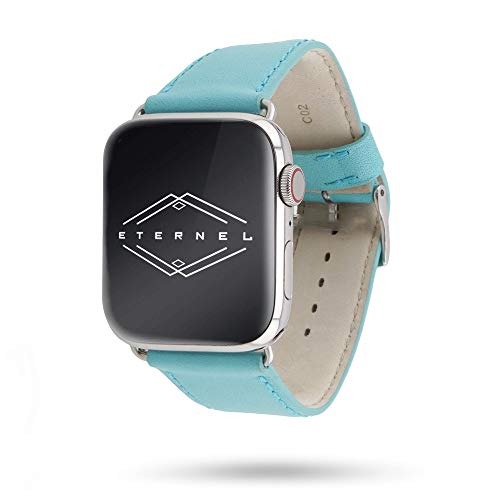 Eternel Made in France armband compatibel met Apple Watch leren band Holi - rundleer, 42mm/44mm, Helder turquoise.
