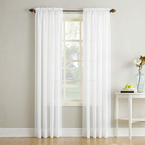 """No. 918 Erica Crushed Texture Sheer Voile Rod Pocket Curtain Panel, 51"""" x 84"""", White"""