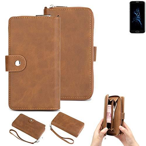 K-S-Trade Handy-Schutz-Hülle Für Bluboo Edge Portemonnee Tasche Wallet-Hülle Bookstyle-Etui Braun (1x)