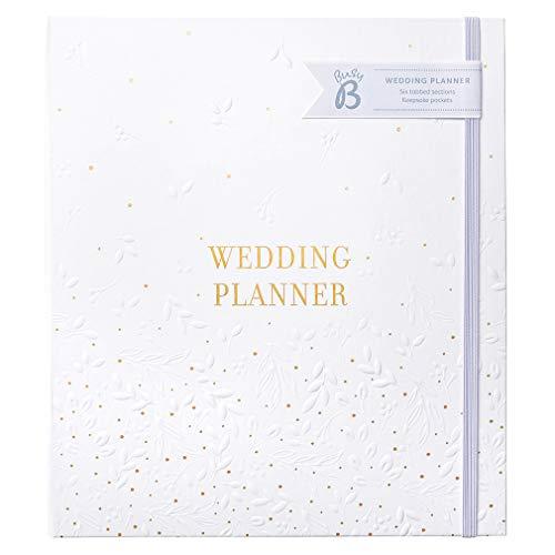 Planificador de boda Busy B - Hermoso organizador de bodas con espiral blanco y dorado con 6 secciones con pestañas y bolsillos archivos, One Size