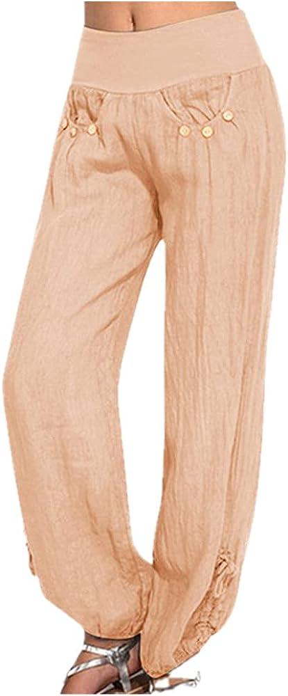 NP Women Black Button Cotton Linen Pants Casual Loose Trouser Wide Leg Pants