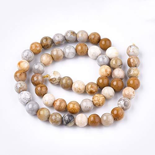 ZEMRIO Perlas de piedras preciosas naturales de 8 mm de margarita y jasper para fabricación de joyas, manualidades, pulseras, collares, perlas (8 mm)