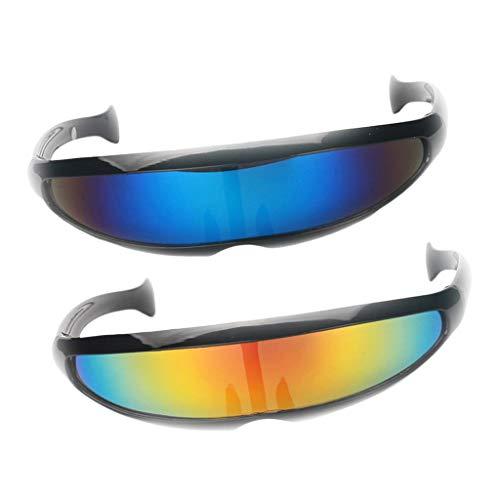 D DOLITY 2 Par de Gafas de Sol Espejos Cyclops Futuristas Monolitos Fiestas de Disfraces Noche de Bachelorette